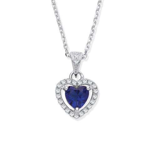 "Blue CZ Halo Heart 18"" Necklace - Jade Wedding Rings"