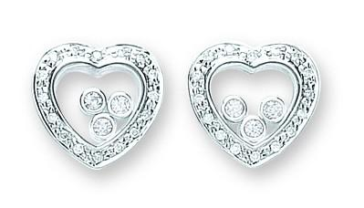 Floating Stone Heart Stud Earrings - Jade Wedding Rings