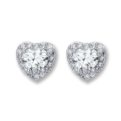Halo Heart Stud Earrings - Jade Wedding Rings