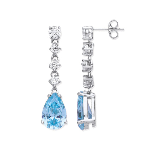 Aquamarine Colour CZ Long Drop Earrings - Jade Wedding Rings