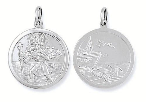 Double Sided St Christopher Pendant - Jade Wedding Rings