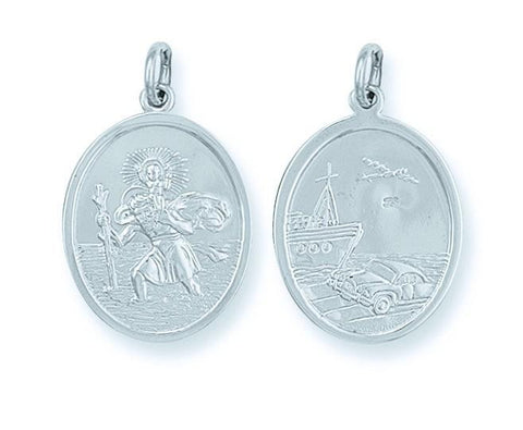 Double Sided Oval St Christopher Pendant - Jade Wedding Rings
