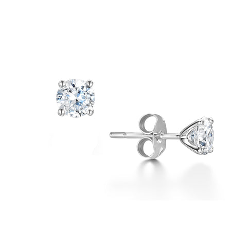 Diamond Round Stud Earrings