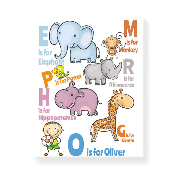 Animal Alphabet - Boy - Personalized Canvas