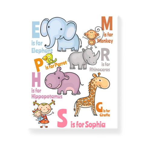 Animal Alphabet - Girl - Personalized Canvas