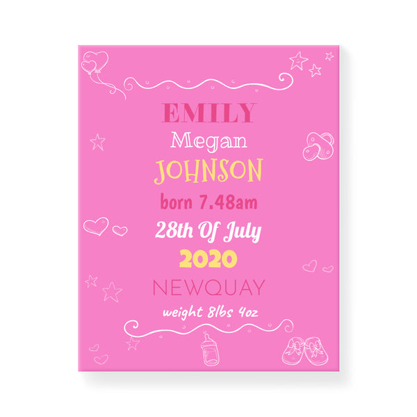 Baby Icons - Pink - Personalized Canvas