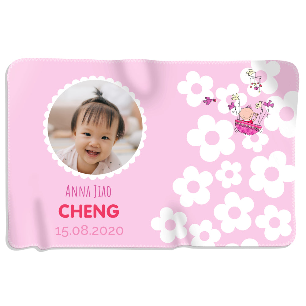 Baby Flower Photo - Girl - Personalized Blanket