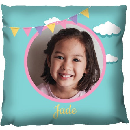Bunting and Clouds Photo - Personalized Cushion
