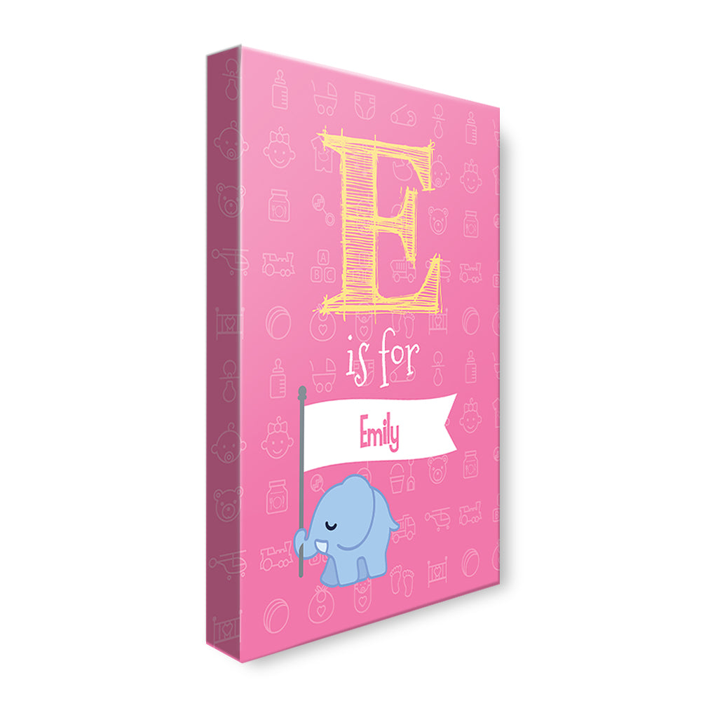 Elephant with Banner - Pink - Personalized Canvas