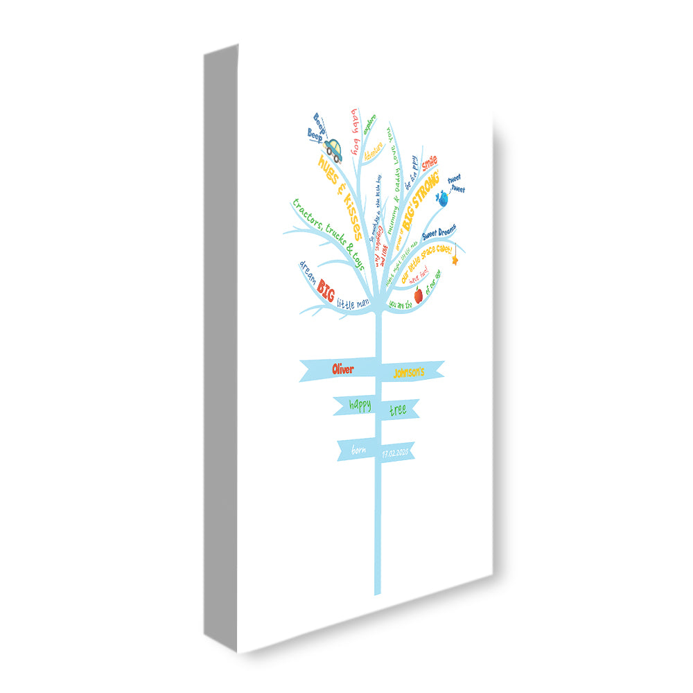 Life Tree - Boy - Personalized Canvas