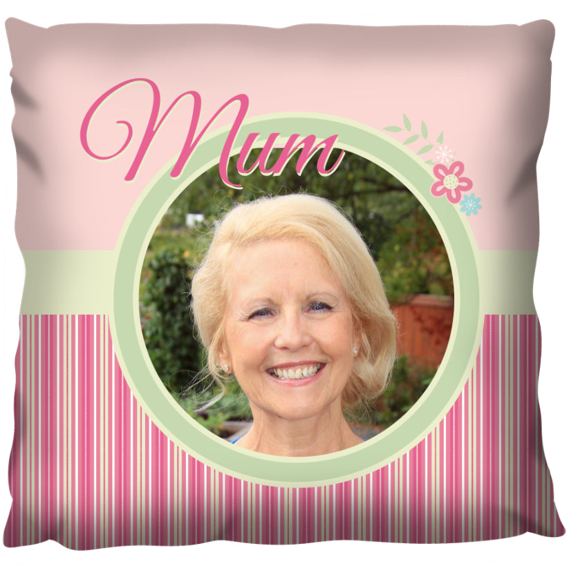 Mum Photo and Flowers - Personalized Cushion