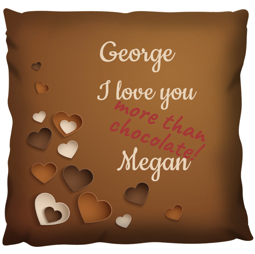 Love More Than Chocolate - Personalized Cushion