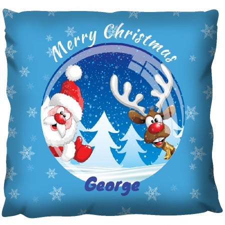 Santa & Rudolph Christmas Globe - Personalized Cushion