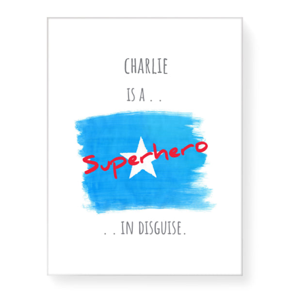 Superhero White Star - Personalized Canvas