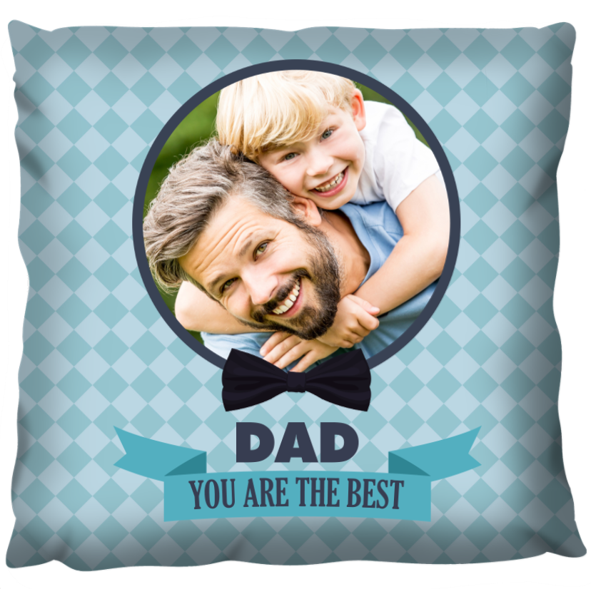 Dad the Best banner blue with photo - Personalized Cushion