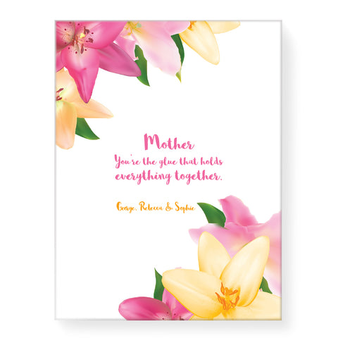 Pink Yellow Flowers - Personalized Canvas