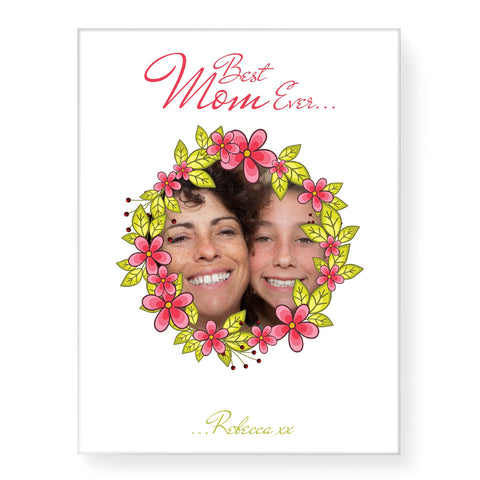 Floral Frame Photo - Personalized Canvas