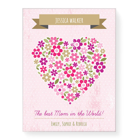Love Heart Flowers - Personalized Canvas
