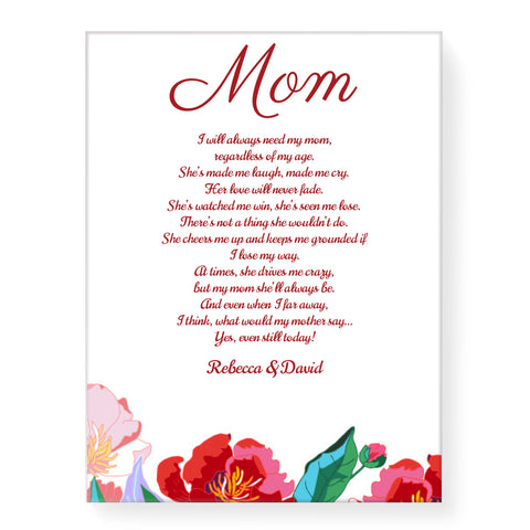 Red Flowers with Poem - Personalized Canvas