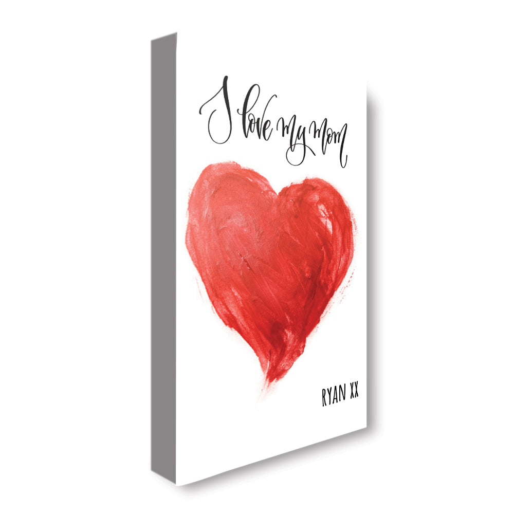 Love Mom Heart - Personalized Canvas