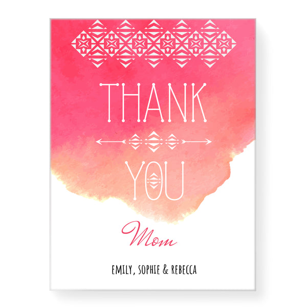 Water Colour Thank You - Personalized Canvas