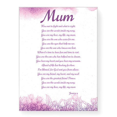 Purple with Poem - Personalized Canvas