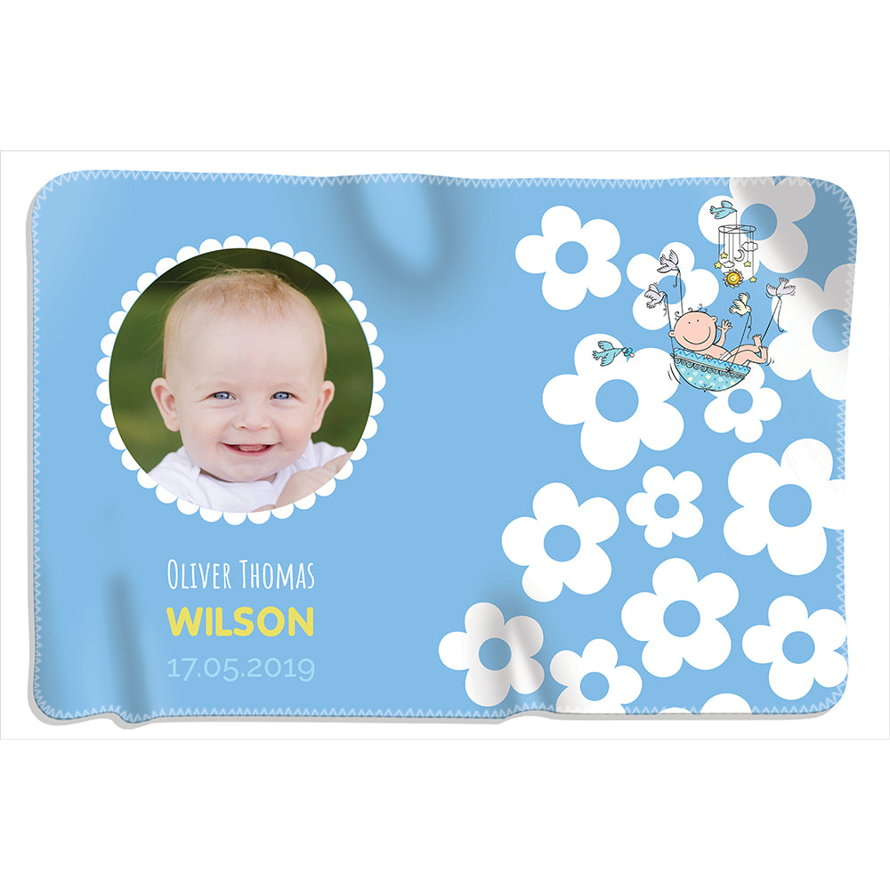 Baby Flower Photo - Boy - Personalized Blanket