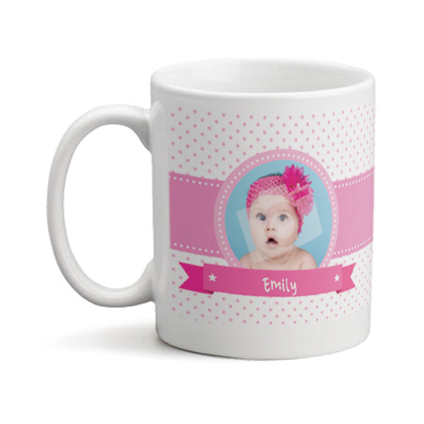 Baby Girl Photo with Bear  - Personalized Mug