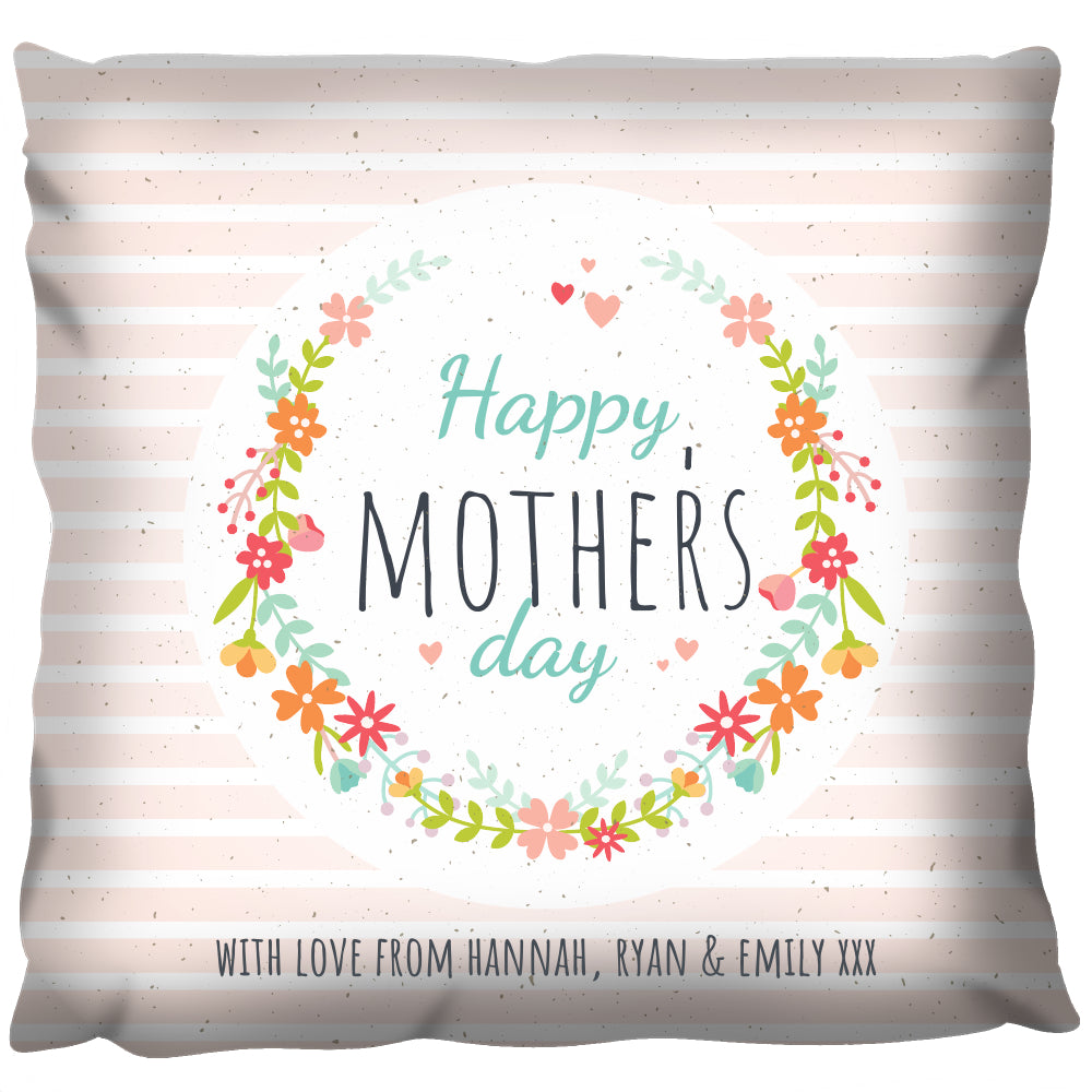 Happy Mothers Day Flowers - Personalized Cushion
