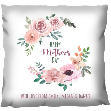 Happy Mothers Day Wreath - Personalized Cushion