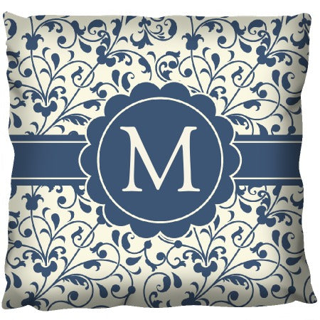Blue Floral Pattern - Personalized Cushion