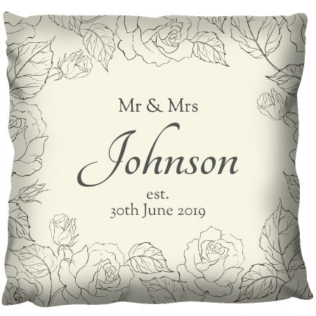 Romantic Sepia Flowers - Personalized Cushion