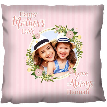 Mothers Day Floral Photo Frame - Personalized Cushion