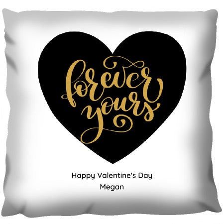 Forever Yours Black and Gold - Personalized Cushion