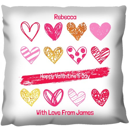Love-hearts Design - Personalized Cushion