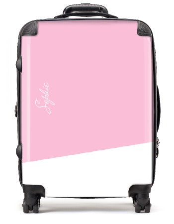 Pink - White with name - Large Suitcase | Printzware