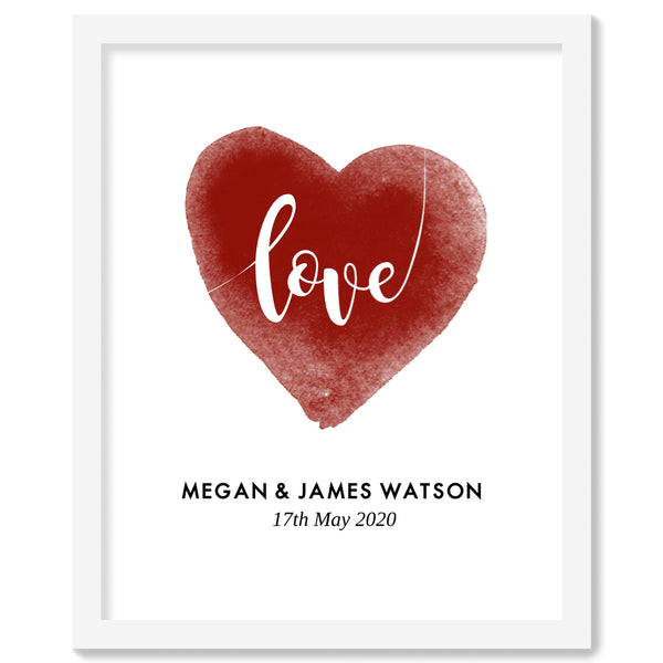 Watercolor Love-heart - White Framed Print | Printzware