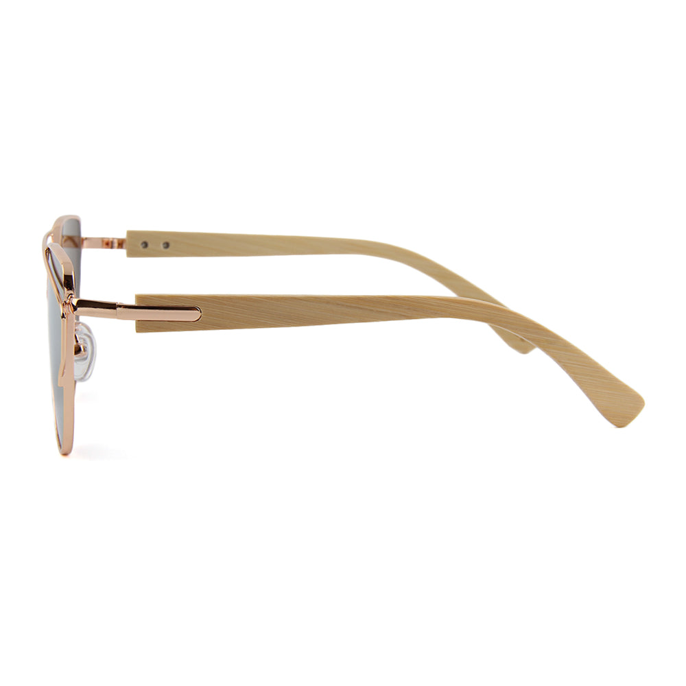 BARCUR Bamboo Sunglasses with Metal Frame
