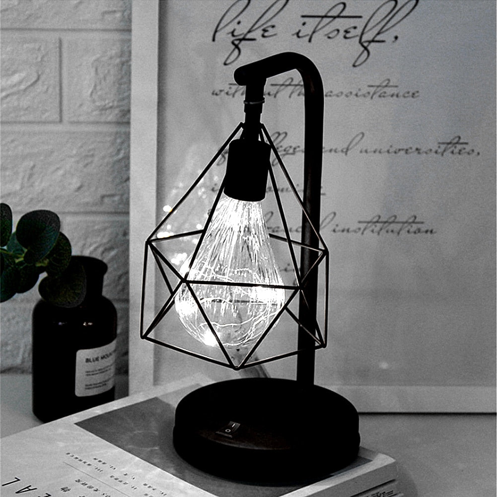 Retro Iron Diamond Table Lamp