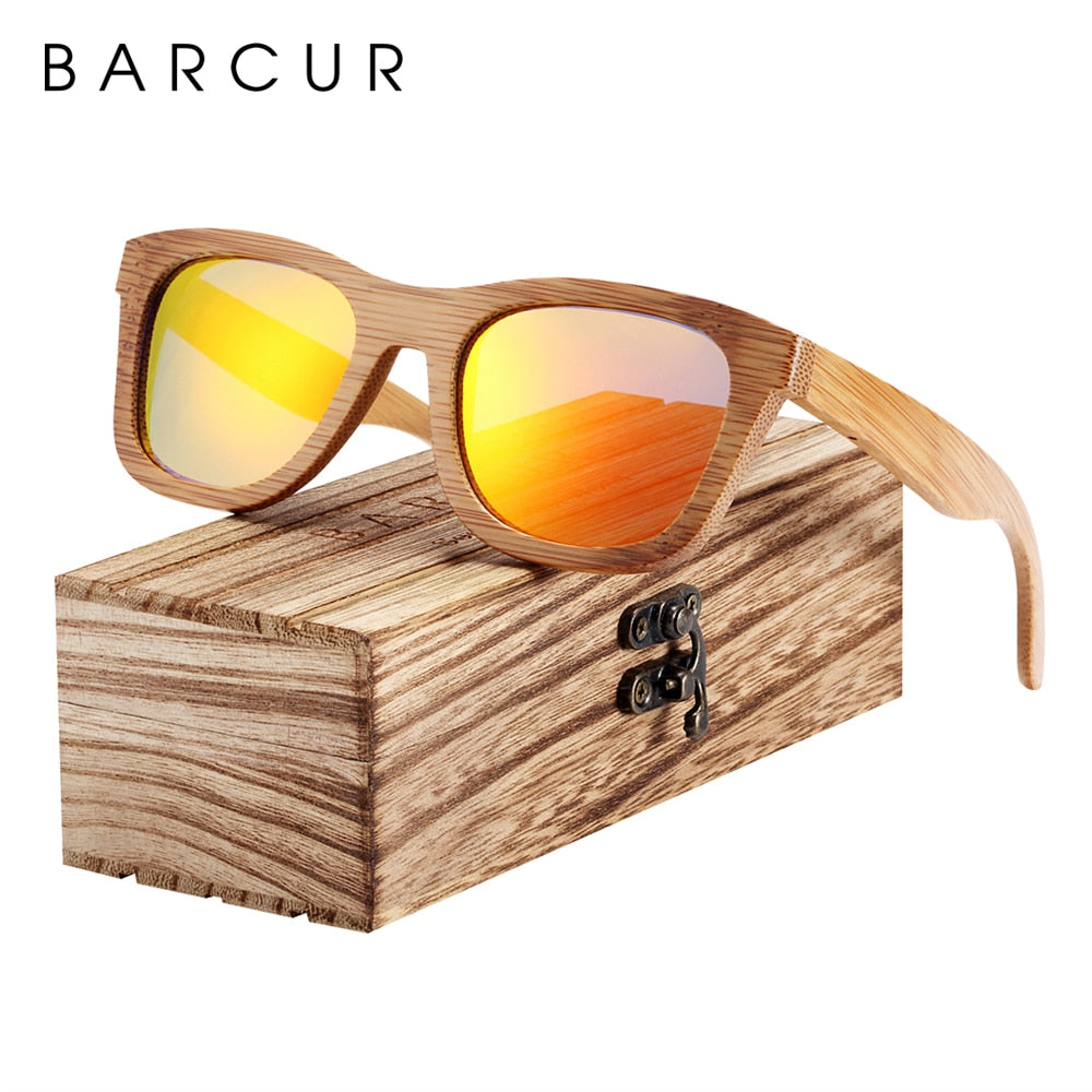 BARCUR Bamboo Sunglasses Retro