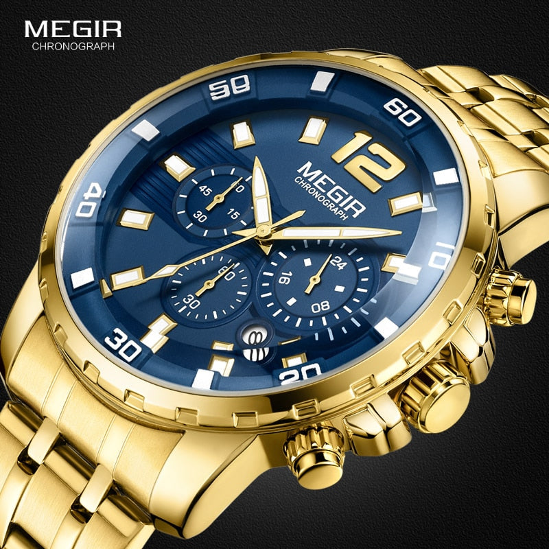 MEGIR Gold Stainless Steel Quartz Watches
