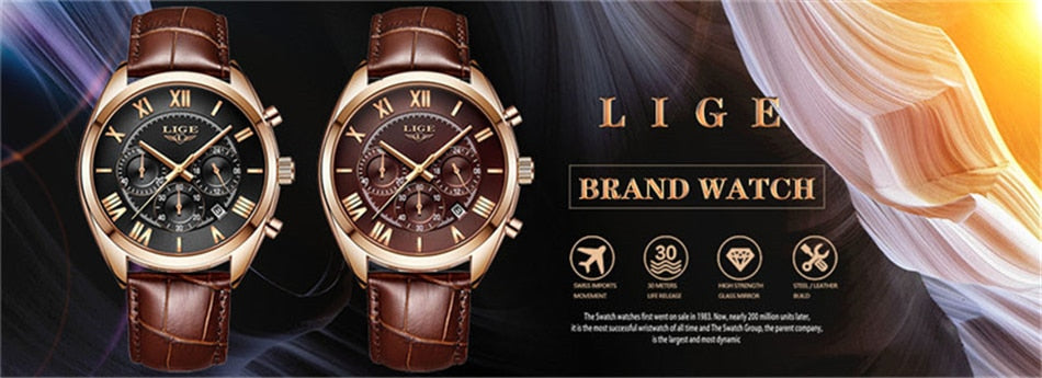 LIGE Handmade Leather Watch for Him
