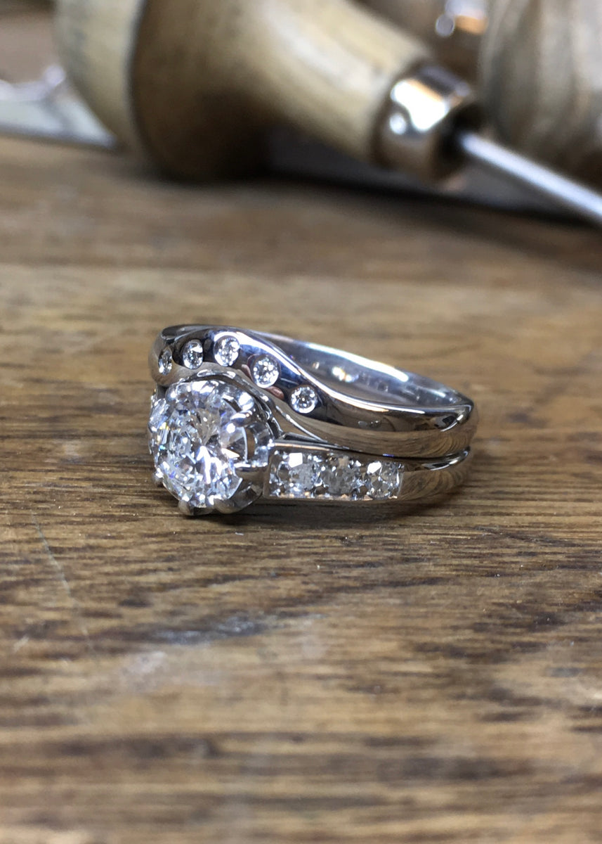White gold and diamond engagement ring with fitted wedding band featuring flush set diamonds.  Bespoke jewellery by Scott Millar Jewellery handmade in Brighton.