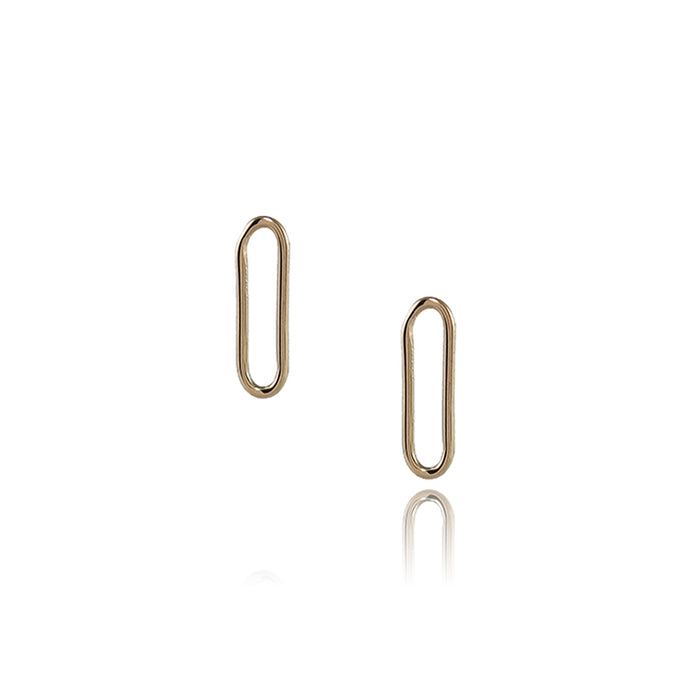 Yellow gold paper clip style earrings with a 1.1cm drop. Handmade in Brighton by Scott Millar Jewellery.
