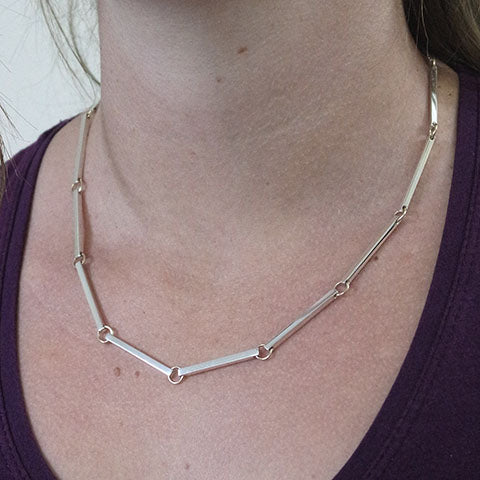 Silver and Gold Bar Graduated Necklace