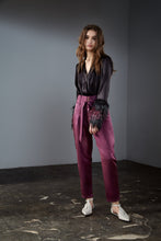 Load image into Gallery viewer, Purple High Waisted Tapered Pants