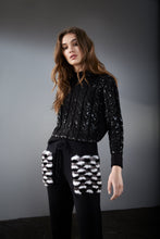 Load image into Gallery viewer, Black Cable Knit Sequin Jumper