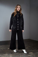 Load image into Gallery viewer, Black Sequin Embellished Cable Cardigan