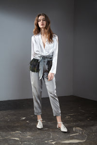 Grey High Waisted Tapered Pants