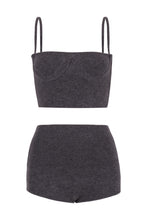 Load image into Gallery viewer, IA Essentials: Dark Grey Cashmere Corset Set